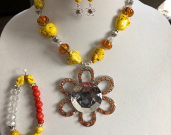 Yellow and Orange Necklace, Bracelet, and Earrings Set