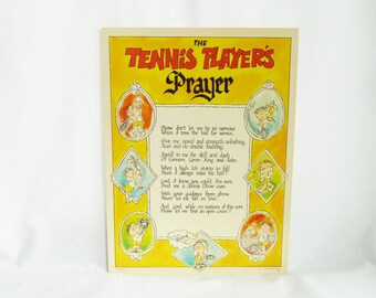 1975 Tennis Player's Prayer Poster - Humorous Cardboard Sports Poster to Hang or Stand Up - Vintage 1970s