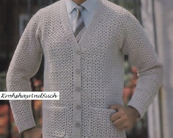 Mans Cardigan, Crochet Pattern. PDF Instant Download.