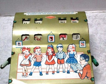 Vintage Toy See and Spell Educational Metal Mechanical Toy by Wolverine, USA Chippy Tin Lithograph, Working Machine, School Room Display