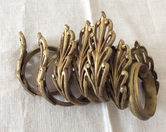 Antique French Gilt Brass Curtain Rings 1920s set of eight