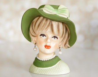 Napcoware Lady Head Vase Floppy Hat Doris Day