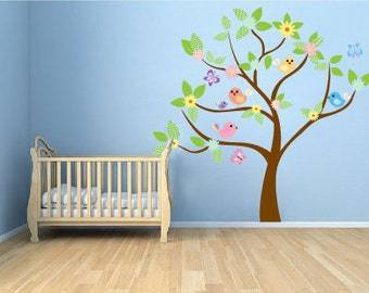 Kids tree vinyl wall decal with birds and  daisy flowers and butterfly