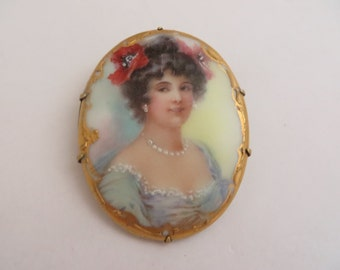 Beautiful Antique Porcelain Hand Painted Victorian Portrait Brooch of a Lady