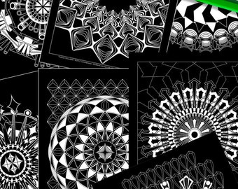 15 Glowdala Bundle/MiniBook – Digital Download, Stamp, Coloring Book, Variety Pack, Mandala, Relaxing, Midnight, Black Background,Printable