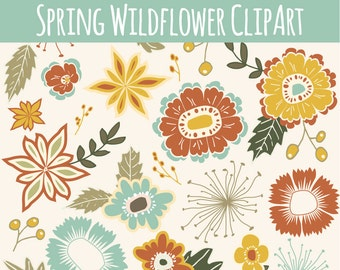 CLIP ART: Spring Wildflowers // Floral Design Elements  // Digital Download Flower Leaf // Photoshop Brushes Vector Files // Commercial Use