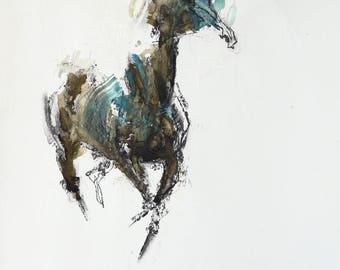 Painting of a Galloping Horse, Contemporary Original Fine Art, Figurative Art, Animal Art, Equine Artist