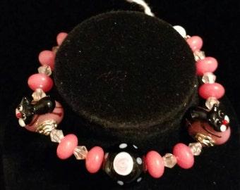 Pink Tourmaline and Kitty Lampwork Bracelet, Size 7
