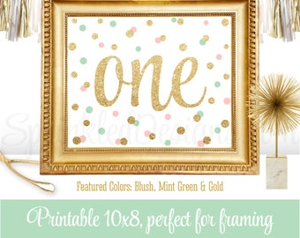 First Birthday Party Sign - Big One 1 - Blush Pink Mint Green Gold Glitter Printable Girl Birthday Party Decorations - 8x10 JPG Download