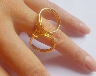 Gold Circles Midi Ring for Wedding Party New Collection, Midi Gold Ring for Wedding, Bridal New Collection Circles Ring