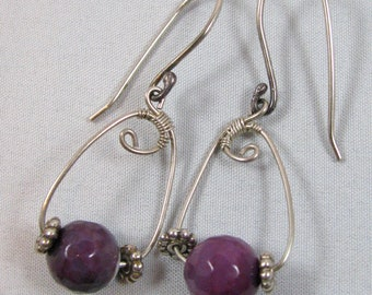 Purple Agate Earrings - sterling silver, statement, dangle, long, wire wrapped, handmade