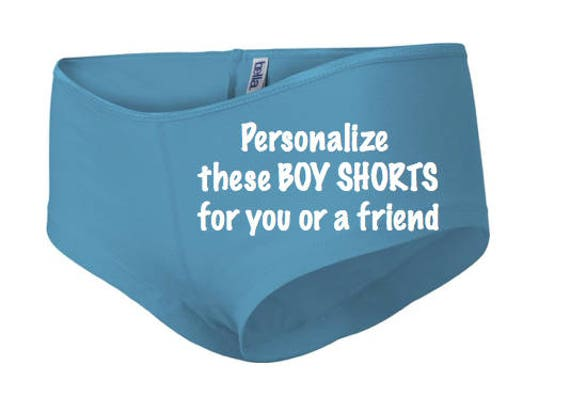 Personalize these turquoise boy shorts for you or a friend * FAST SHIPPING * Custom Birthday Party Gift Idea