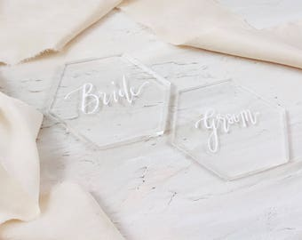 Clear Acrylic Wedding Place Cards, Place Cards, Escort Cards, Place Cards Wedding, Wedding Calligraphy, Gold Place Cards