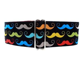 Mustache Martingale Collar, Mustache Dog Collar, Movember Martingale Collar, 1.5 Inch Martingale Collar, Greyhound Collar, Movember