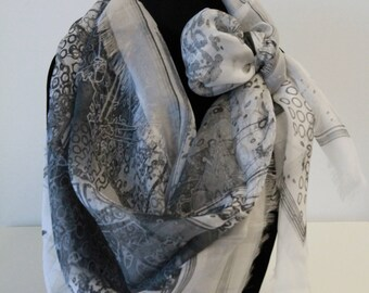 White-Grey Abstract Silk Scarf