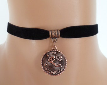 black velvet choker, aquarius choker, aquarius necklace, stretch ribbon, zodiac, copper tone