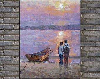 painting,oil painting,seascape painting,original painting sunrise,boat,a couple