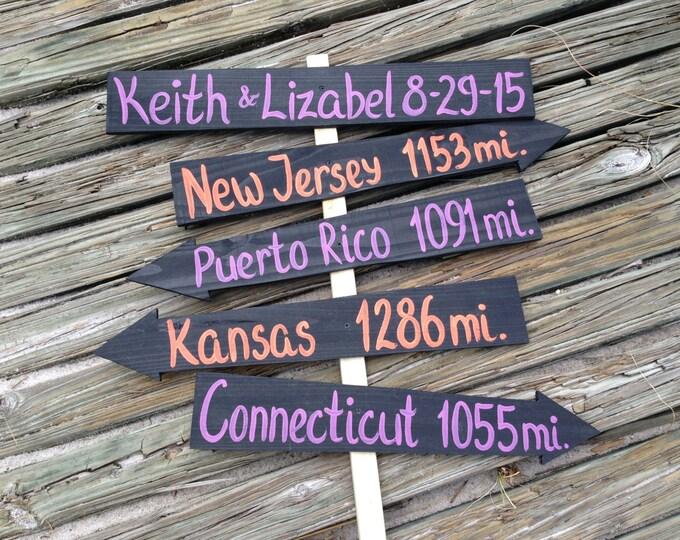 Personalized Wedding gift idea, Purple Orange Wedding Decorations, Rustic Arrow Mileage Sign, Beach Wedding Decor, Wedding Directional Sign