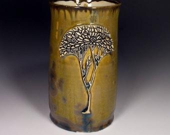 Craftsman Tree Olive Green Tan Turquoise Earth-tone  Crystalline Glazed Black Tree Textured Handle Large Mug Beer Stein