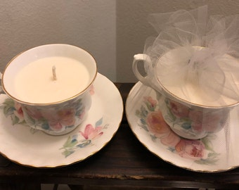 100% Soy Wax Teacup Candle - Tranquility Scent (Ginger Root & Ylang Flower)