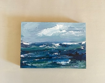 5 x 7  Ocean Painting -Original - Beach Art - Cradled Gesso Panel - 3/4 inch natural wood edge- Ready to Hang