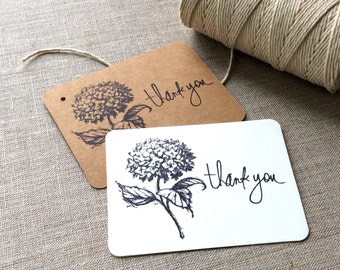 20 Hydrangea Thank You Cards, flat flower thank you cards, hydrangea gift tags, hand stamped flower gift tags