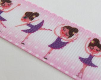 Pretty white, pink and Purple Ribbon with ballerina motif
