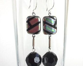 Handmade Black Disco Ball Earrings Faceted Glass Iridescent Silver Lines Stripes Rectangle Beads, Metal Bar Links - Long Dangle Earrings