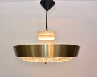 Large Dutch mid-century design golden saucer pendant lamp with textured glass - UFO / Space age / 60s / Hollywood Regency