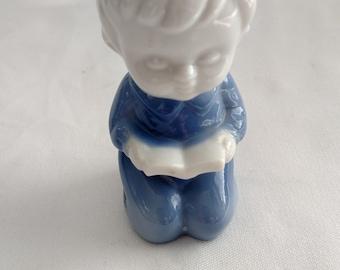 Vintage Japanese Porcelain Figurine - Kneeling Boy with Bible Porcelain Figurine-Praying Boy Figurine-Religous Figurine Made in Japan