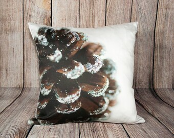 Brown Christmas Photo Pillow Covers, Decorative Holiday Throw Cushion Case, Pine Cone Photo, Holiday Cushion, Modern Christmas Decoration
