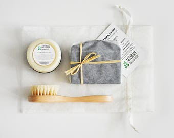 3-Step Skin Care Bag | Trio Spa Kit, Holiday Gift Set, Unisex Gift Pack, Choose Your Soap, Handmade Soap, Facial Brush, Organic Body Butter