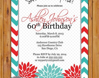 Surprise Birthday Party Celebration Invitation Teal Floral Burst 50th 60th Milestone Adult Birthday 5x7 Digital JPG DIY Printable (232)