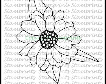 April Flower of the Month - Daisy (TLS-1802) Digital Stamp. Cardmaking.Scrapbooking.MixedMedia.