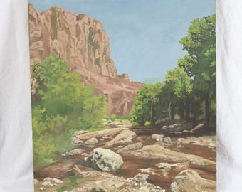 S. Jenkins 22x24 Impressionist Western Landscape 1960's Oil Painting Mountain Stream