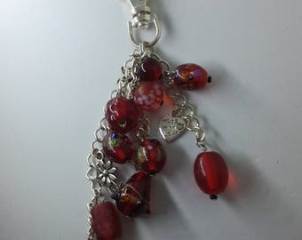 Upcycled Red Beaded Keychain