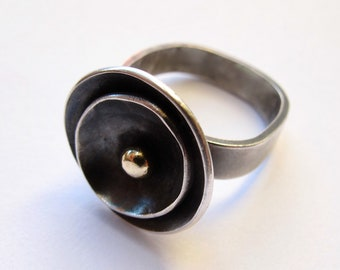 Sterling silver dome ring with gold ball, eco friendly silver statement ring, oxidized silver flower ring