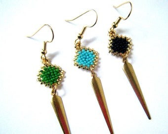 Diamond Dagger Dangle Beaded Earrings