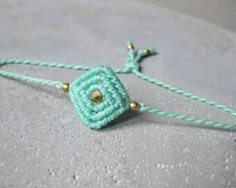 Small Turquoise Friendship String Bracelet . Chic Minimalist Macrame Jewelry . Fiber Jewellery . Design by .. raïz ..