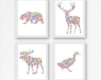 Set Of 4 Art Prints - Woodland Animals Nursery / Kids Room Art Set - Geometric Forest Animals - Moose, Duck, Bear, Deer Wall Art -8 x 10