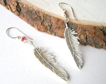 Silver Feather Earrings, Long Gemstone Feather Earrings, Sterling Silver Boho Style, Carnelian Feather Earrings, Nature Inspired Dangles
