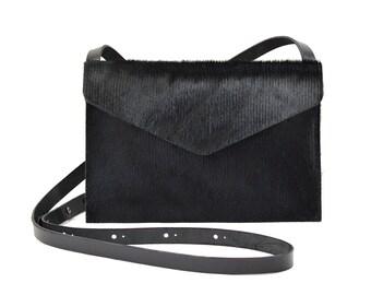 Evette - Handmade Ribbed Black Leather Shoulder Bag Purse SS17