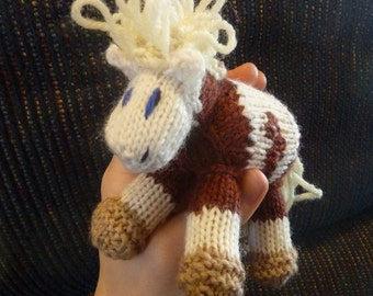 Mini Rain: Pony Knitted Horse Colt Natural Waldorf Toy