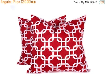 15% Off Sale Pillow.Red16x16 inch.Decorator Pillow Cover.Printed Fabric both sides..Red and White Chain.Cushion.Housewares.Home Decor