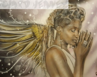 A4 Print of original artwork Angel with dreadlocks on canvas.11.7inches x 8.3inches