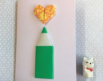 Origami greeting card - pencil and heart ( green and yellow)