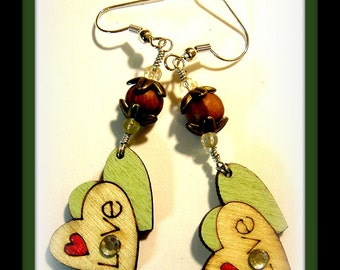Sharing the Love...wood dangle earrings