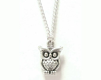 Tiny Silver Owl Necklace // Little Silver Owl Pendant // Owl Gift