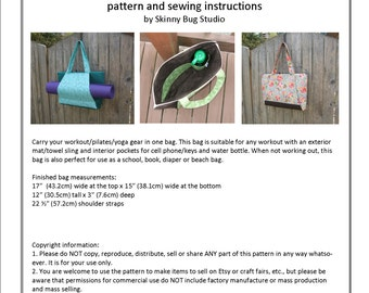 PDF Pattern - digitial download - workout yoga bag - sewing pattern instruction - beach bag pattern - yoga bag tutorial - portfolio style