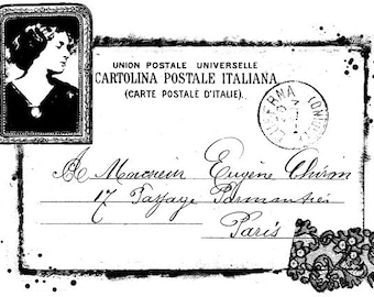 EZ Mounted Rubber Stamp Edwardian Style Paris Post Card with Woman Lace Writing Altered Art Craft Scrapbooking Cardmaking Collage Supply.